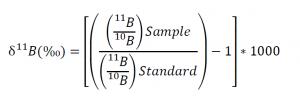 Isobar boron isotopic ratio